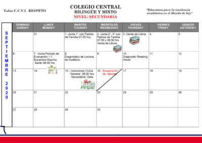 Secundaria - Agenda septiembre