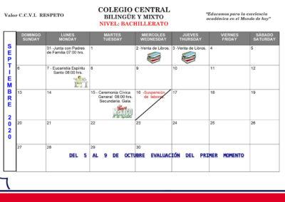 Bachillerato - Agenda septiembre