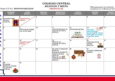 Agenda Preescolar Noviembre 2020