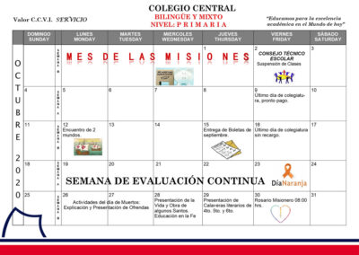 Agenda Primaria octubre 2020